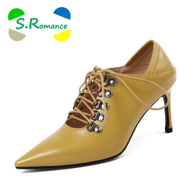 S.Romance Women Pumps 2018 Genuine Leather Fashion Elegant Pointed Toe Strange Heel Office Lady Woman Shoes Black Yellow SS078
