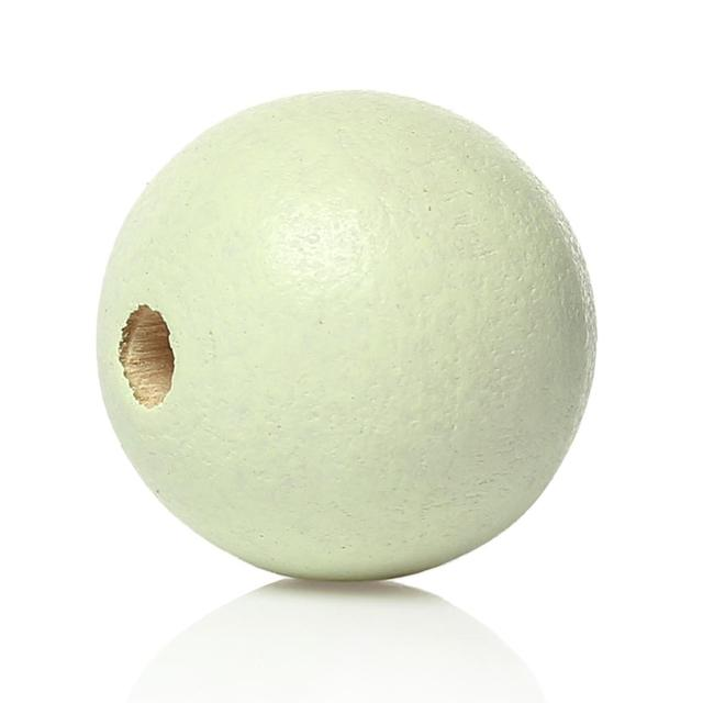 "DoreenBeads Wood Spacer Beads Round Light green About 25mm(1"") Dia, Hole: Approx 5.4mm-5.9mm, 4 PCs"