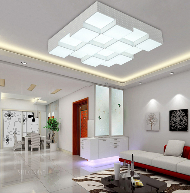 LED Acrylic Cube Ceiling Lamp Home Living Room Bedroom Study Lamp Business Place Interior Lighting Ceiling Light AC110-240V