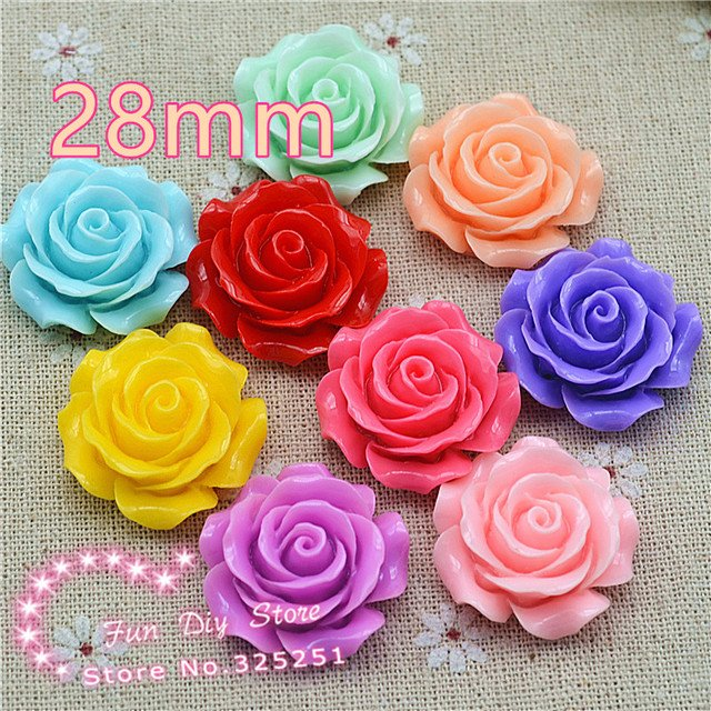 resin flat back flower cameos 28mm 10pcs for hair bow center mix color free shipping