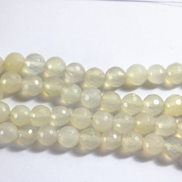 Natural white agat stone carnelian onyx 6mm 8mm 10mm 12mm classical faceted round loose beads diy jewelry 15 inches A19
