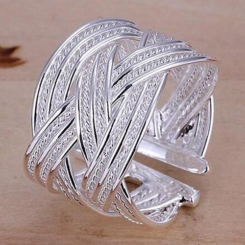 Hot Women's Silver Plated Claw Ring Woven Mesh Style Jewelry Gift US 8 6Y4B 7FZ4 BD3Y