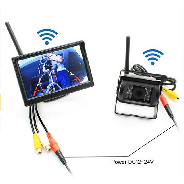 For RV Truck Trailer Bus 5 inch HD Car Rear View Monitor Back up Camera Parking Assistance System With IR Night Vision