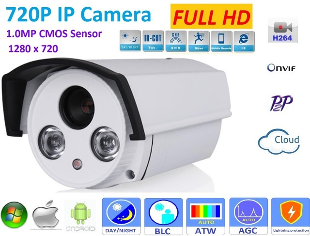 New type1280*720P H.264 1.0 Megapixel HD ONVIF IP Camera P2P outdoor Warterproof ip66  IR-CUT Night Vision Network Camera