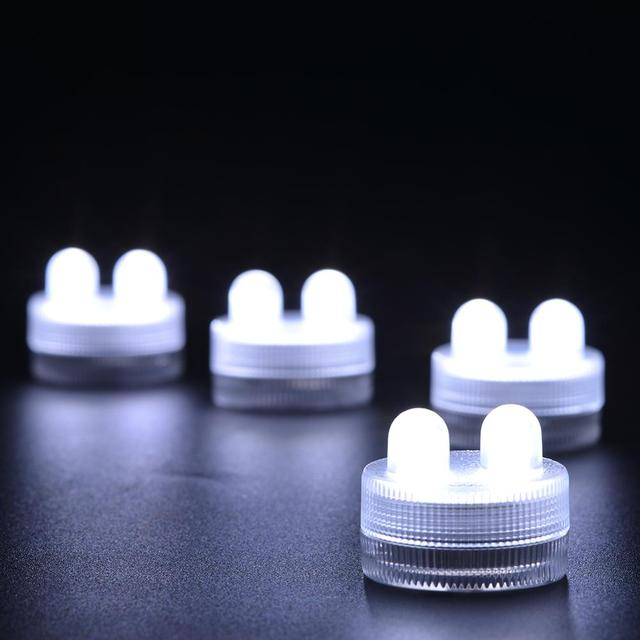 Kitosun Waterproof Submersible LED Lights 10pcs/pack LED BULE DOUBLE SUBMERSIBLE Floralyte II Lights Blue 2LEDs candle lights