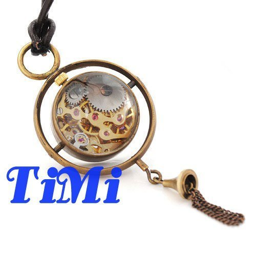 Vintage Copper Mechanical Pocket Watch Necklace Leather Chain Ball Pendant New