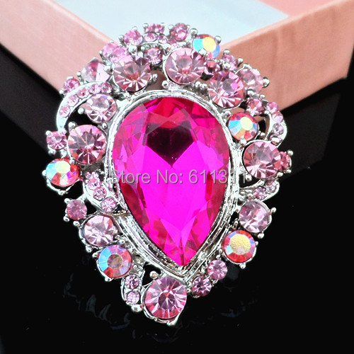 Free Shipping 4PCS/LOT Fashion Huge Waterdrop Pink Rhinestone Crystal Brooch For Wedding,Party.etc