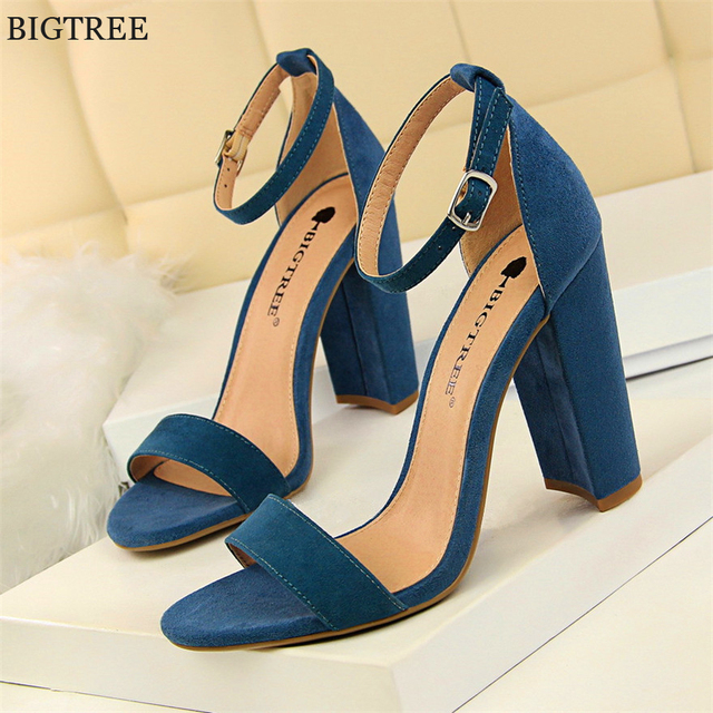 BIGTREE 8 Colors Women High Heels Sandals Concise Flock/PU Open Toe Buckle Sexy Woman Party Sandal Summer Shoes Big Size 34-43