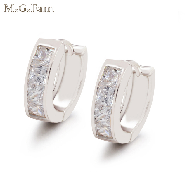 MxGxFam  Women's Hoop Earrings Square AAA+ Cubic Zircon lead and Nickel Free Forbid Allergy white Gold Color