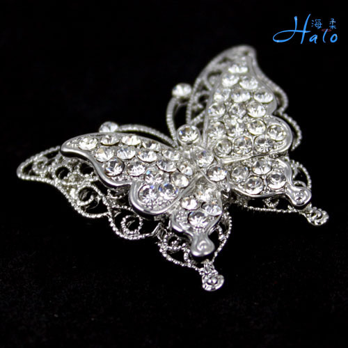 Free Shipping 6pcs/lot P168-412 girls fashion accessories crystal butterfly brooch pin