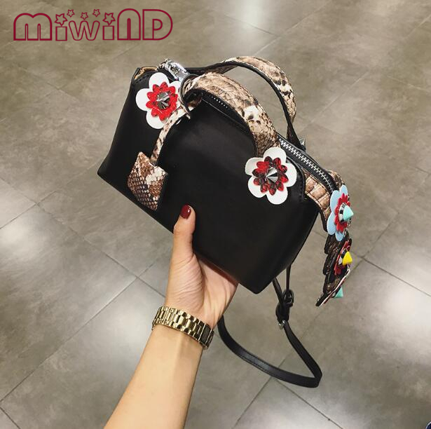 MIWIND 2017 Fashion Spring Women Shoulder Bags Leather High Quality Messenger Bag Boston Flowers Handbag Cross Body Bags  Purse