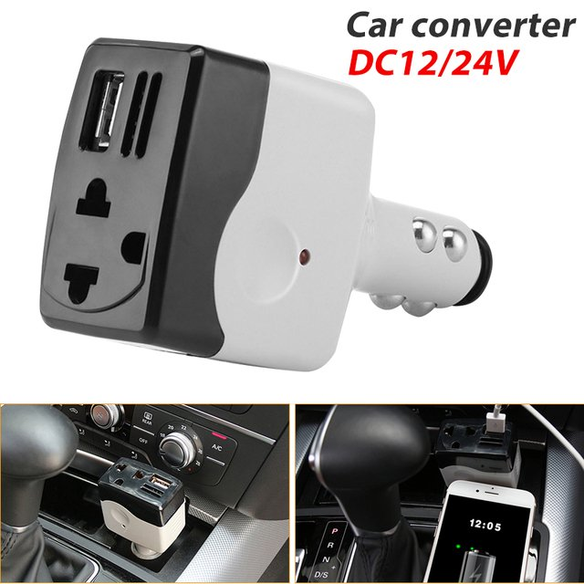 Car Inverter Outlet Car Electronics Efficient USB Auto Interior AC220V DC12/24 ABS Adapter Car Charger Car Adapter