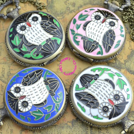 Coupon for wholesale buyer price good quality vintage classic big bronze colorful enamel owl pocket watch necklace with chain