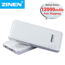 Zinen Polymer mobile Power Bank for Apple Samsung smart phones external battery charger charge treasure 12000mAh