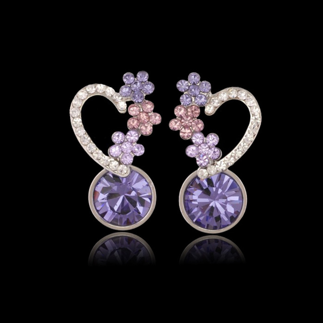 MxGxFam High Quallity Austria Purple Crystal Earrings for Women White Gold Color
