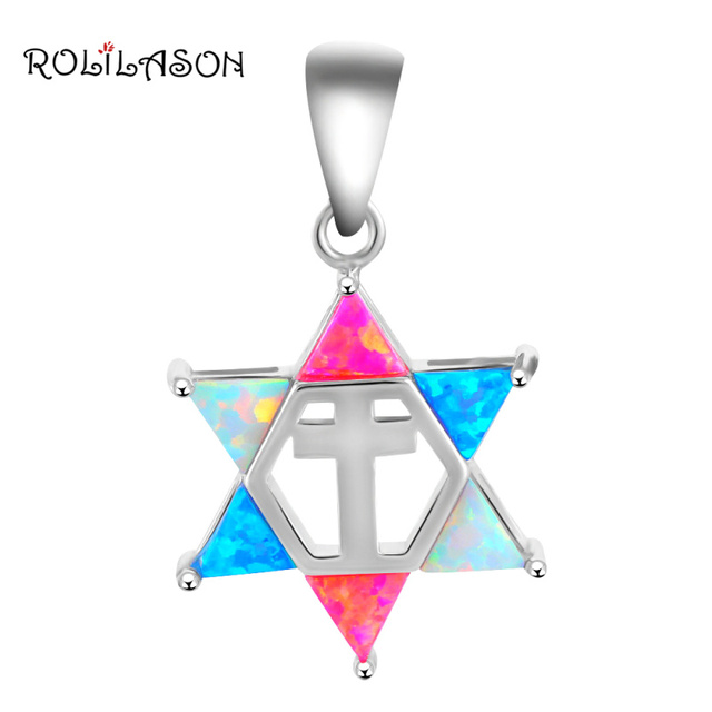 Hot selling Color Star of David Fire Opal Silver Stamped Pendants Fashion jewelry Anniversary Birthday Gifts OP456