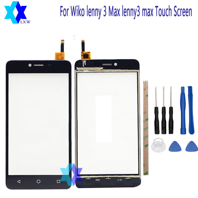 For Wiko lenny 3 Max lenny3 max Touch Screen Glass Original New Glass Panel Touch Screen 5.5 inch Tools+Adhesive Stock