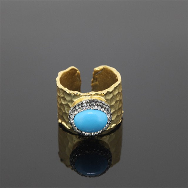 Luxurious natural crackle stone ring in  gold color for women charm druzy onyx stone paved rhinestone ring