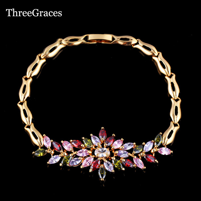 ThreeGraces Summer Style Gold Color Chain Links Multi Color Cubic Zirconia Big Flower Bracelets & Bangles For Women BR034