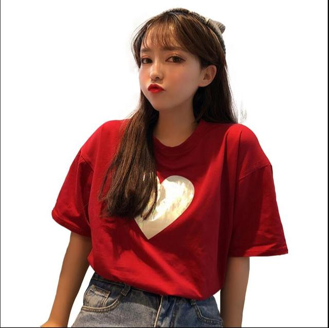 Summer laser love heart printing loose round neck short-sleeved t-shirt female
