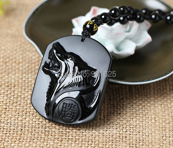 Drop Shipping Natural Black Obsidian Carving Wolf Head Lucky Amulet Pendant Necklace obsidian Certificate fashion Jewelry