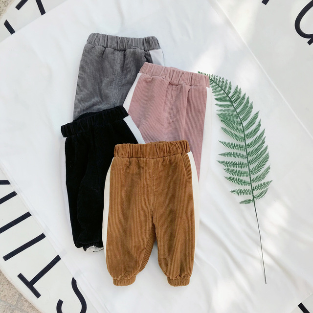 Children Pants Toddler Corduroy Trousers Baby Boys Girls Sport Pants Kids Child Winter Warm Plus Velvet Thickening Pants