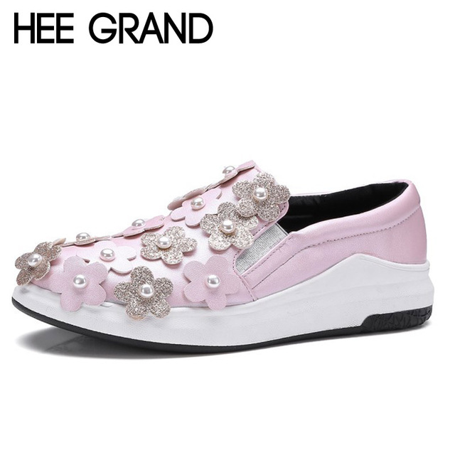HEE GRAND Flowers Creepers Pearl Glitter Flats Shoes Woman Pink Loafers Comfort Slip On Casual Women Shoes Size 35-43 XWC1112