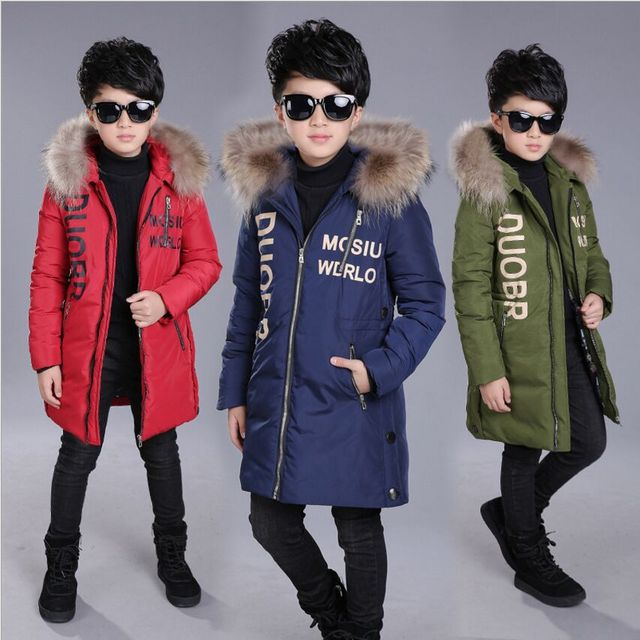 2018 New Casual Children's Winter Jackets Outerwear & Coats Boys Winter Jacket Fashion Hooded Letters Long Cotton Thick Coat