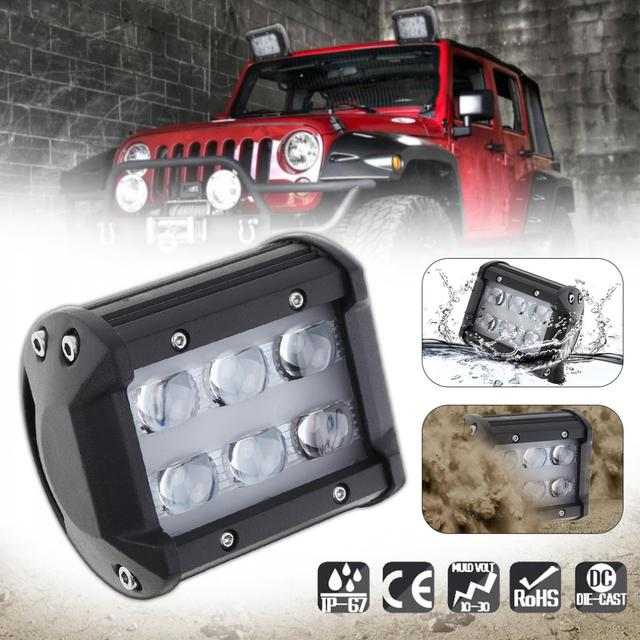 4 Inch 30W 6000LM 6000K LED Car Work Light Spot Lamp with Two Rows Light Bars Worklight Offroad Light Lamp for Pickup Wagon