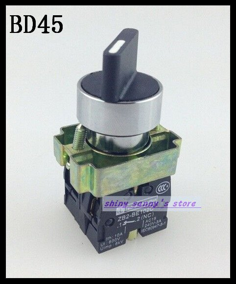 1Pcs BD45 XD2-BD45 2 Position NO NC Spring Reset Momentary Select Selector Switch Brand New