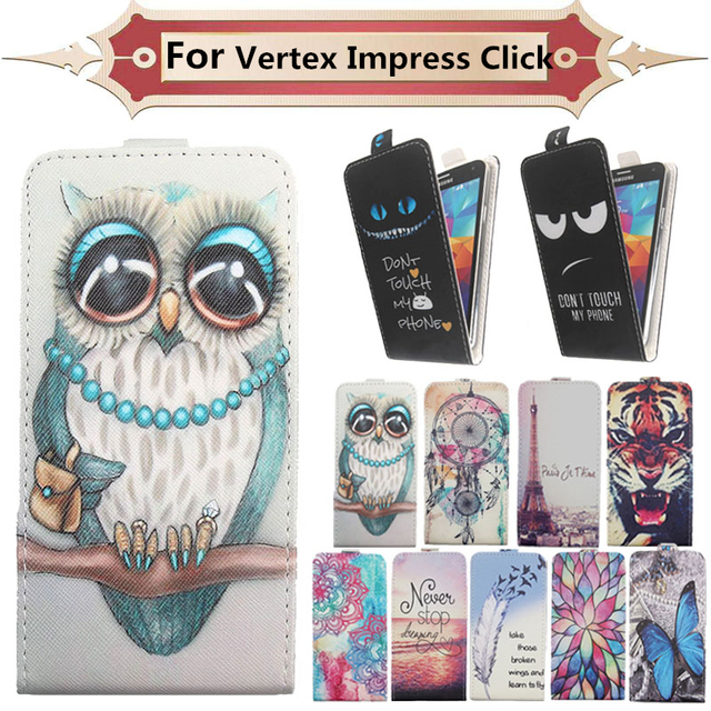 Fashion 11 Colors Cartoon Pattern Up and Down Flip PU Leather Case For Vertex Impress Click