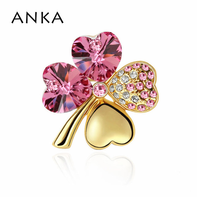 ANKA Clover Crystal Brooch Brooches Gold Color Clover Brooch Pin Crystal Jewelry Main Stone Crystals from Austria #100854