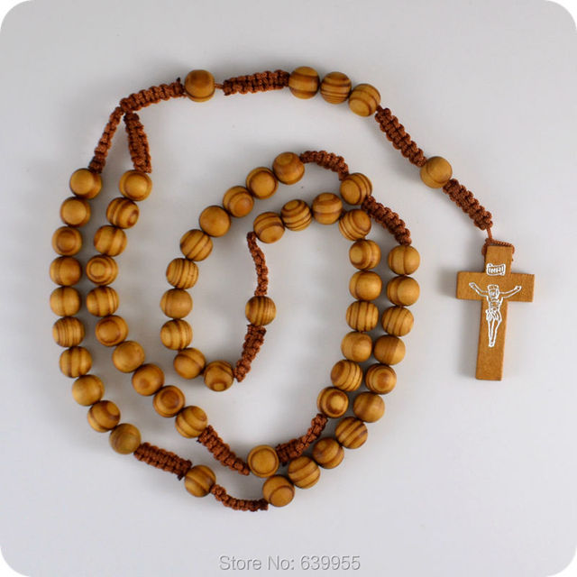 NEW Wooden Rosary Beads INRI JESUS Cross Pendant Necklace Catholic Fashion Religious jewelry