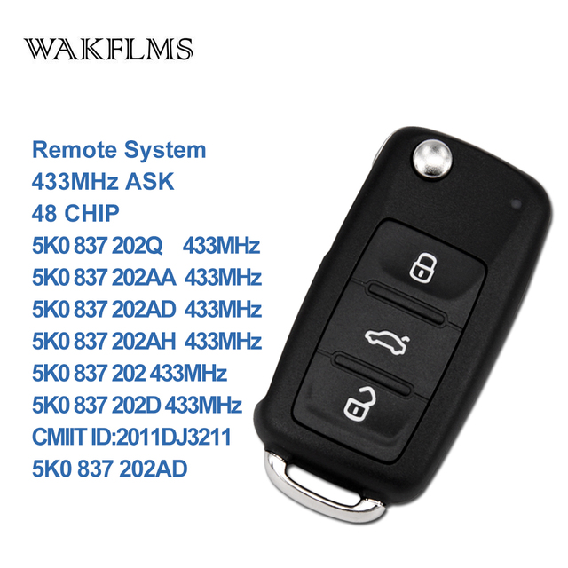 OEM Original 3btn remote key 5K0837202AD/202AA/202AH/202D 434MHZ for VW PASSAT GOLF POLO REMOTE KEY FOB with 48 CHIP