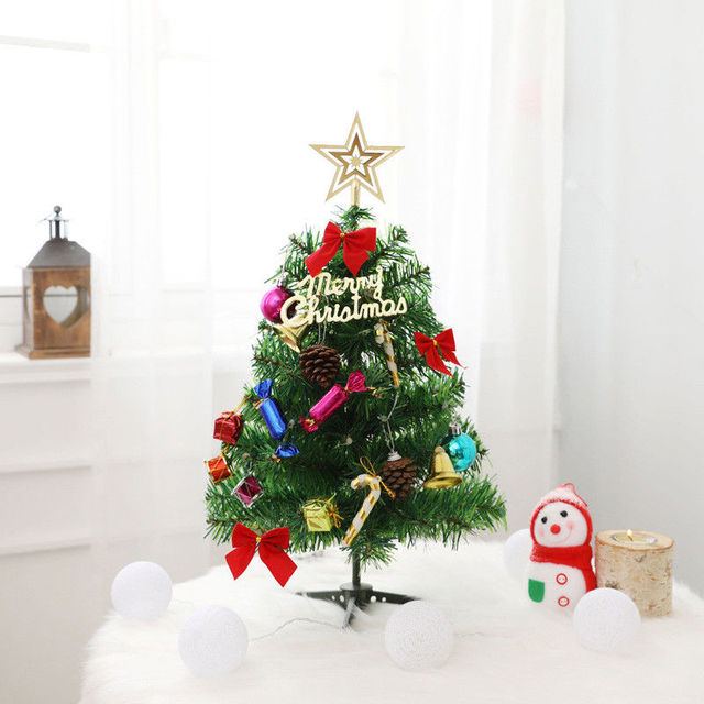 50cm LED Santa Tree New Year Ornament Home Decoration Artificial Office Village Putz House Santa Snow Frost LED Christmas Tree