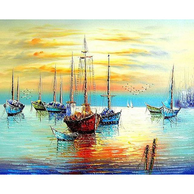 DIY PBN Sailing Boat Arcylic Painting By Numbers On Canvas Framed Wall Pictures Art For Living Room Home Decoration PH9231