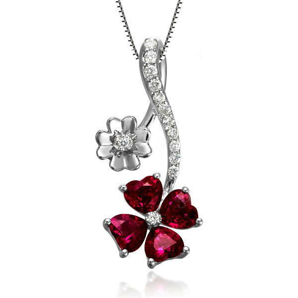 GVBORI 1.2ct Red Ruby gemstone pendant +925 Sterling silver Chain  Necklace Fine Jewelry  SetsFor Women Wedding,Party Valentine