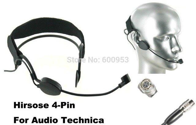 High Qulity Black Headset Head Microphone For audio technica Wireless Mic System