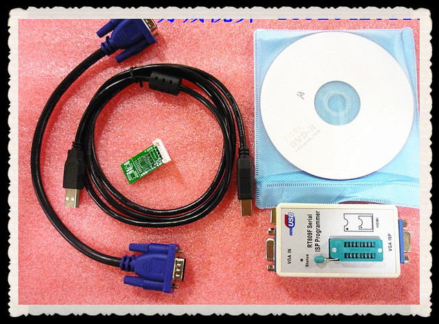 Free Shipping RT809F Serial ISP/ VGA LCD USB Programmer+7pcs Adapter Repair Tools 24-25-93 serise IC RTD2120 Better then EP1130B