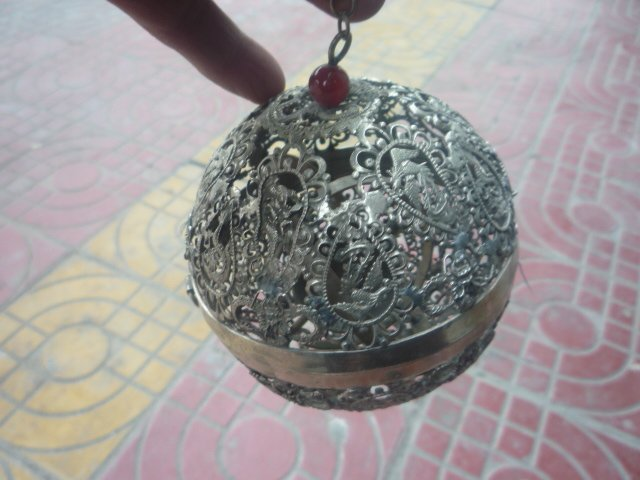 Collectable Old Qing Dynasty Silver Dragon  Incense Stove\Censer, sphere ,Crafted exquisite,free shipping