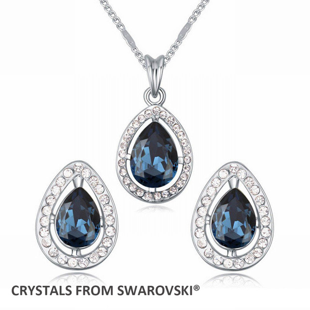 2015 hot sale New design! Charming drop necklace earrings jewelry set Crystals from Swarovski Christmas Gift