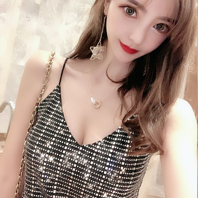 Summer 2019 Women's New V-neck Strapless Sexy Tops Strap Sequins Bottoming Tide Brand Wild Party Top Streetwear Black White