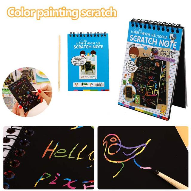 Magic Drawing Book Kids Coating Scratch Note Magic Color Rainbow Scratch Paper Stationery Exercise Puzzles Toy Novelty Gift