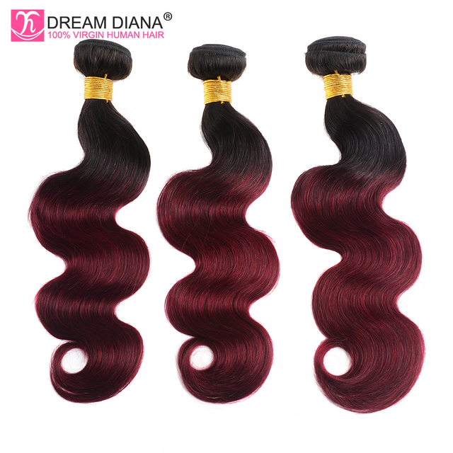 DreamDiana Ombre Burgundy Body Wave Two Tones Ombre 3 Bundles Remy Weave 99J Brazilian Hair Red Wine Color Ombre Human Hair
