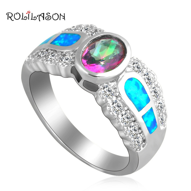 ROLILASON Gorgeous Rainbow Zircon Inlay Blue fire Opal Silver White Crystal fashion Jewelry Rings USA Ring for women OR641