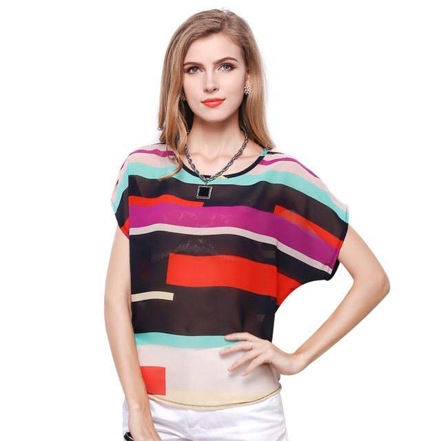 Women Fashion Striped Chiffon Blouse Multi Color Print Shirts Loose Short Sleeve Casual Blouse Femininas Plus Size blusas Tops