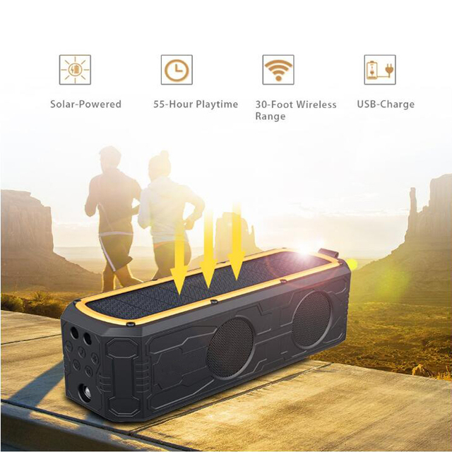 Solar Power Bluetooth Speaker Portable Wireless Bluetooth Speaker Dual Driver Speakers with Mic Superior Stereo Sound with Bass