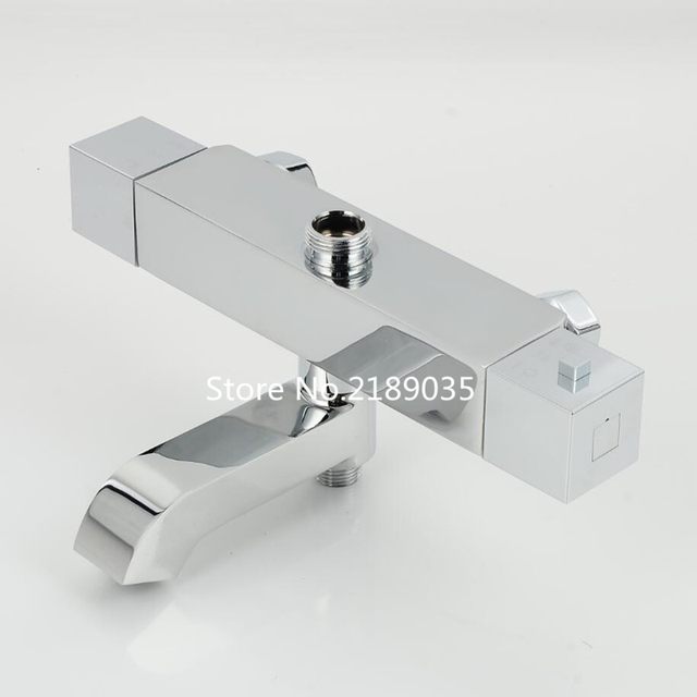 Square shower Faucets bathtub faucet thermostatic bathroom shower faucet chrome finish bath mixer valve wall mounted mixer tap