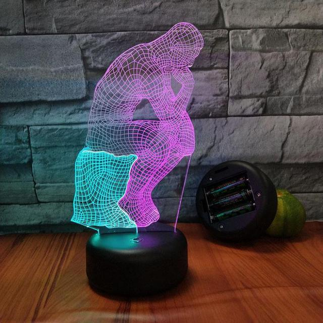 Wooden Man 3d Visual Light Creative 7 Color Touch Charging Night Table Lamp For Bedroom Birthday Gift Wholesale