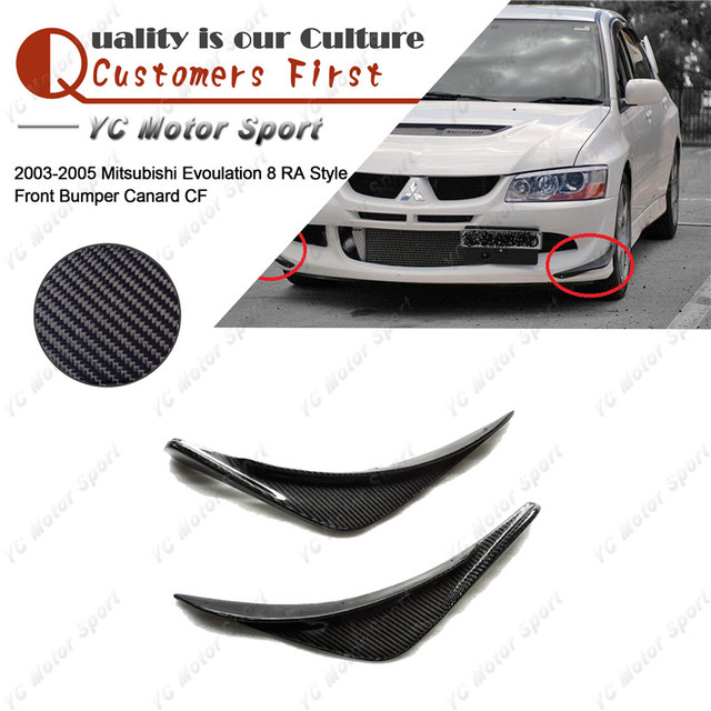 Car Accessories Carbon Fiber RA Style Canard 2pcs Fit For 2003-2005 Evoulation EVO 8 Front Bumper Canards